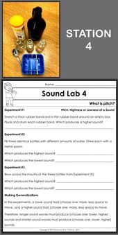 Enjoy Teaching Sound – What Is Pitch? Six hands-on science centers let third grade, fourth grade, an…
