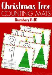 Printable Christmas Tree Math Mats – Pre-k