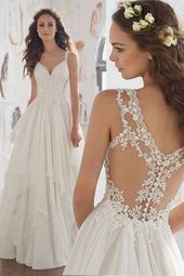 [187.99] Amazing Tulle & Chiffon V-Neck A-Line Wedding Dresses With Beaded Lace Appliques
