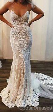 Halter Sexy Lace Mermaid Cheap Wedding Dresses Online, Cheap Unique Bridal Dresses, WD590