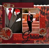 love this idea with the closeup detail of the groom for wedding scrapbook layout  – Wedding scrapbook