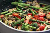 Chicken Pesto and Asparagus Skillet