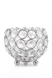 "Candle Holder – Round Real Beaded Crystal Votive – ""Prestige"" – 4″ Silver – BUY MORE, SAVE MORE"