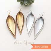 layered gold silver metallic leather leaf earrings / double layered leather earrings / not associated with Joanna Gaines or Magnolia Market