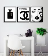 Chanel Black Perfume Bottle Print, Chanel Logo, Coco Noir Paris Perfume Bottle, Coco Chanel, Black Makeup Fashion Wall Art, SETfashion3
