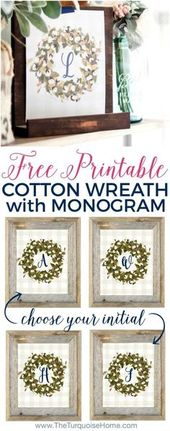 Cotton Wreath Free Printable {with your monogram!} | The Turquoise Home
