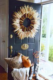 30 einfache DIY das Erntedankfest Tür Dekorationen