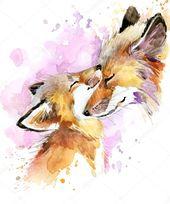 Baby Ilustration Download - Fox watercolor. Fox and baby fox. Fox family watercolor illustration....