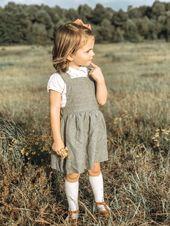 Trägerkleid, Leinen-Trägerkleid, Leinen-Mädchenkleid, Leinen-Trägerkleid, Mädchenkleid, Grau Neutral Li  – Products
