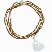 Wickelarmband aus Lacrosseperlen für Mädchen – Lacrosse Sport Heart   Braune, weiße Perlen   – Products