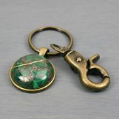 Kintsugi repaired malachite and pyrite stone key chain with antiqued brass key r…   – Products