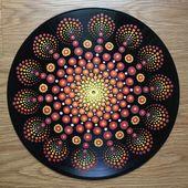"""Vinyl Record Art """"Rising"""" – Acrylic on Vinyl, Mandala, Mandala Art, Hippie Art, Flower Art, Circle Art, Trippy Art, Vinyl Art, Recor"""