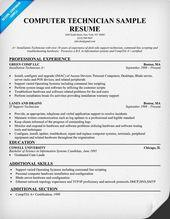Free Computer Technician Resume Example resumecompanioncom