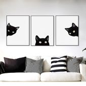 Minimalist Kawaii Black Cats Head Canvas Set