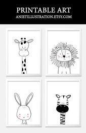 Baby Ilustration Schwarzweiss-Kindergarten scherzt Kunst. Druckbare Kinderzimmer Wandkunst. - marion bechy - D...