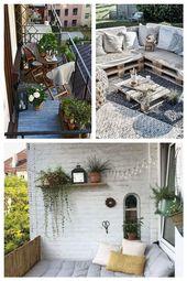 kleiner Balkon gestalten Metall Geländer Pflanzen Kasten #Balkonmbel #balconyfu… – Balkonmöbel