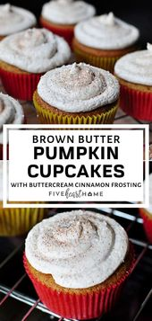 Feuchte und würzige Kürbis Cupcakes! Diese flauschigen Brown Butter Pumpkin Cup …