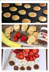 Nutella mit frischen Scheiben Banane und Erdbeere – es ist Frühstück auf ei …   – Morning snack-kids