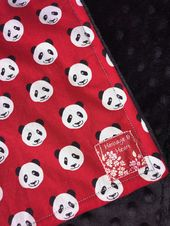 PANDA baby blanket – small minky toddler security blankie – Chinese keepsake – China souvenir, gift – ready to ship