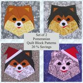 Set of 2 Pomeranian PDF Quilt Block Patterns: 20 % Savings