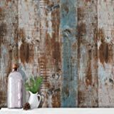 HaokHome MR47 Peel and Stick Wood Wallpaper Shiplap Light Grey//White Distressed