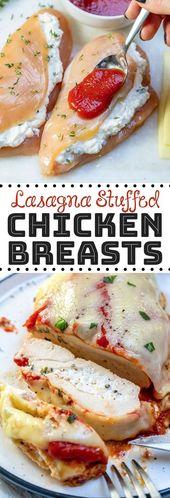 Mit kohlenhydratarmer Lasagne gefüllte Hähnchenbrust Eine einfache und köstliche Idee für ein Abendessen