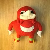 Ugandan Knuckles Plush Toy Handmade Vrchat Sonic Meme De Wey Da Wae Uganda In 2021 Handmade Toys Handmade Mosaic Plush Toy