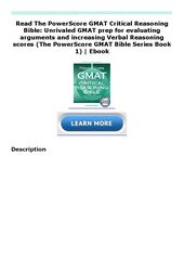 Read The Powerscore Gmat Critical Reasoning Bible Unrivaled Gmat Prep For Evaluating Arguments And In 2020 Critical Reasoning Gmat Prep Gmat