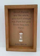 Gute Freunde sind wie Sterne, personalisierter Freundrahmen, Langstreckenfreundschaft, addieren Namen oder Ihre eigene Mitteilung