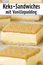 Kekssandwiche mit Vanillepudding   – Backen