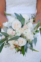 Blush Bridal Bouquet, White and Blush Wedding Flowers, Light Pink & White Wedding, Romantic Wedding – eküvő csokor