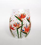 Gebranntes orange Blumenweinglas handgemaltes personalisiertes stammloses Weinglas Hochzeitsgeschenk Geburtstagsgeschenk für ihr Gartenarbeitgeschenk für Mutter   – HAND PAINTED