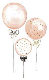 XL Wandtattoo 'Luftballons' puderrosa/gold/schwarz 85cm