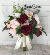 Burgunder Brautstrauß, Blush & Burgunder Hochzeitsblumen, Burgunder Wein Hochzeitsstrauß, Seide Brautstrauß, Boho Bouquet, Blush Pink Wedding   – Blumen