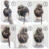 Hair styles for school Simple simple bread roll. … #beautyhacksforschool Ski …