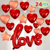 24 Valentines Day Decoration Foil Large Size Balloons 23'' X 29'' Red LOVE Letter, 14