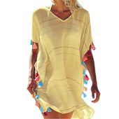 Women Beachwear Swimwear Tassel Bikini Cover Up Summer Kaftan Sarong Beach Dress…