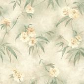 Brewster Segal Green Textured Floral Trail Wallpaper Sample 347-44814SAM