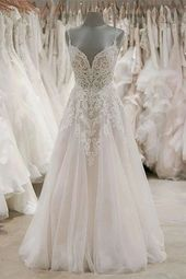 A Line Spaghetti Straps Tulle Wedding Dresses Appliqued Cheap Bridal Dresses OKN…