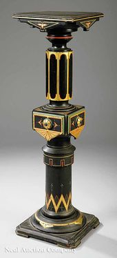 0165: Polychromed, Ebonized, Pedestal, Killian Bros