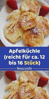 Zutaten 90 g Mehl 1 Ei(er) 1 Prise(n) Salz 25 g Zucker 75 ml Milch 2 große Äpf…