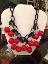Fabulous Vintage Black Cherry Bakelite Necklace Tested