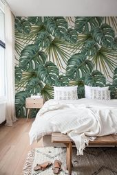 Monstera Leaf Wallpaper, Removable Wallpaper, Temporary Wallpaper, Monstera Leaves Wallpaper, Jungle Wall Decor, Jungle Wallcovering – A259