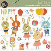 Happy Birthday Party Bunny Digital Vector and PNG Clipart. For Scrapbooking, Card Making, Design and Papercrafts