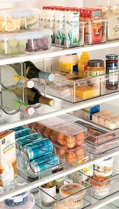 cd80ce9447638499e0f36175fd5da718  organized fridge refrigerator organization Plastic Refrigerator Dividers: Okay, so this isn't exactly your pantry… but ...