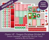 Penguin Christmas, CLASSIC Happy Planner Printable Stickers, Weekly Kit, Planner Kit, CLASSIC Happy Planner, Instant PDF Download