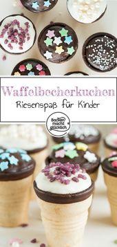 Cupcakes in einer Waffelschale sind ideal zum Backen mit Kindern. Die A …   – Kuchen & Torten | Kindergeburtstag