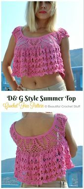 Crochet Women Summer Crop Top Free Patterns – Tejidos