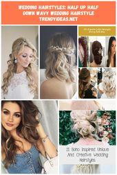 Hochzeitsfrisuren: halb hoch halb runter gewellte Hochzeitsfrisur TrendyIdeas.net   Ihre Quelle Nummer eins für tägliche Trendideen - #hairstyle #hairstyle ...