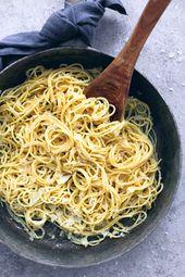 Espagueti cremoso a la parmesana   – Rezepte